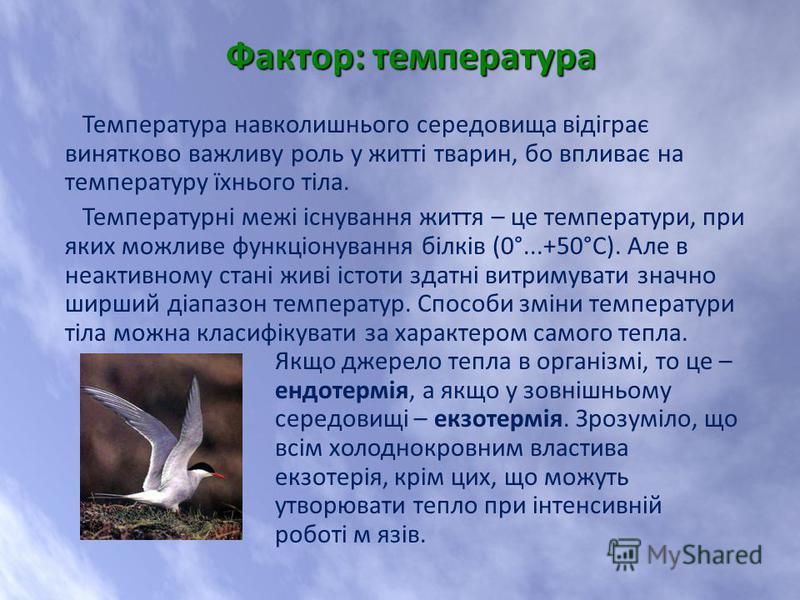 Температура навколишнього середовища відіграє винятково важливу роль у житті тварин, бо впливає на температуру їхнього тіла. Температурні межі існування життя – це температури, при яких можливе функціонування білків (0°...+50°С). Але в неактивному ст