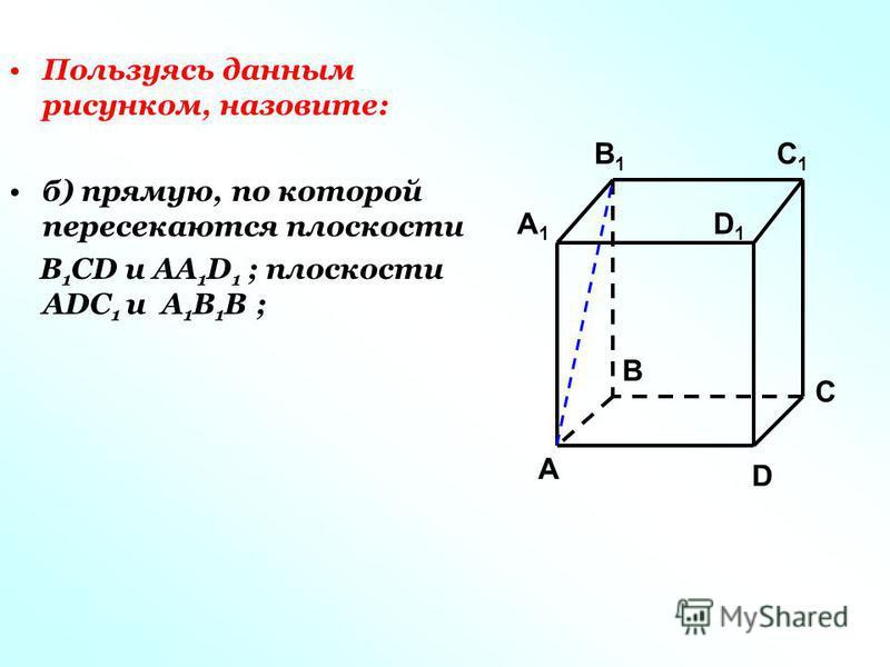 Пользуясь данным рисунком, назовите: б) прямую, по которой пересекаются плоскости B 1 CD и AA 1 D 1 ; плоскости ADC 1 и A 1 B 1 B ; C1C1 C A1A1 B1B1 D1D1 A B D