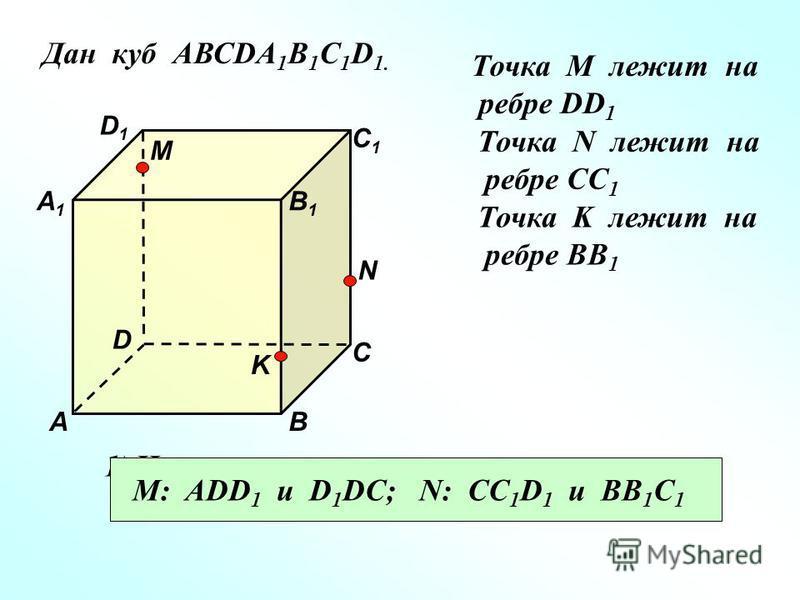 Дан куб АВСDA 1 B 1 C 1 D 1. Точка М лежит на ребре DD 1 Точка N лежит на ребре CC 1 Точка K лежит на ребре BB 1 D1D1 В А1А1 А D С1С1 С В1В1 M N K 1)Назовите плоскости в которых лежат точка М, точка N. M: ADD 1 и D 1 DC; N: CC 1 D 1 и BB 1 C 1
