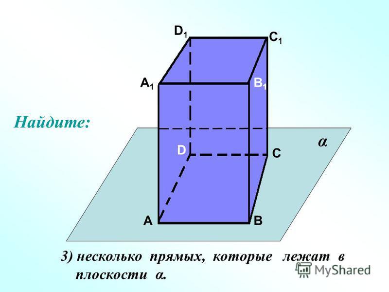А А1А1 В В1В1 С С1С1 D D1D1 3) несколько прямых, которые лежат в плоскости α. α Найдите:
