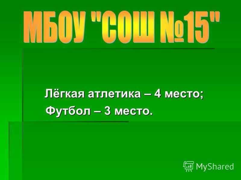 Лёгкая атлетика – 4 место; Лёгкая атлетика – 4 место; Футбол – 3 место. Футбол – 3 место.