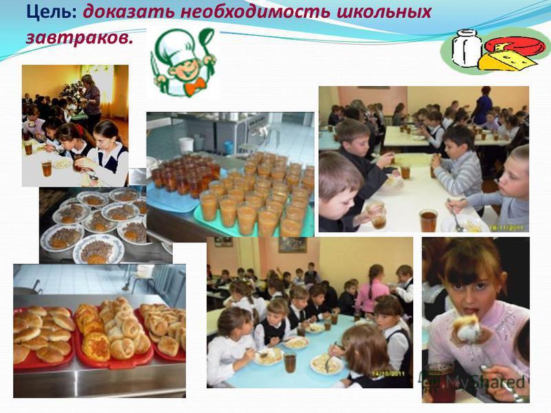 Цель: доказать необходимость школьных завтраков.