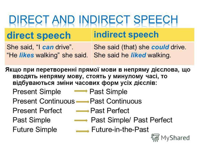 Якщо при перетворенні прямої мови в непряму дієслова, що вводять непряму мову, стоять у минулому часі, то відбуваються зміни часових форм усіх дієслів: Present Simple Past Simple Present Continuous Past Continuous Present Perfect Past Perfect Past Si