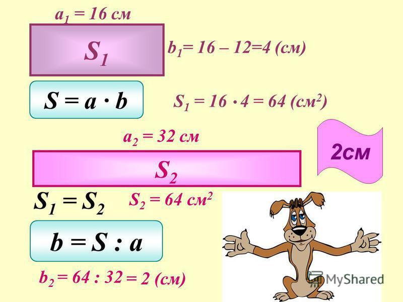 a 1 = 16 см b 1 = ? (на 12 см меньше) S = a b S 1 = 16 b 1 a 2 = 32 см S 1 = S 2 S 2 = b = S : a b 2 = : 32 16 b 1 S2S2 b 2 = ? Два прямоугольника имеют равные площади.Длина первого прямоугольника 16 см, а его ширина на 12 см меньше длины. Длина втор