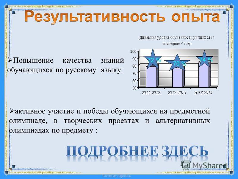 Повышение качества знаний обучающихся по русскому языку: активное участие и победы обучающихся на предметной олимпиаде, в творческих проектах и альтернативных олимпиадах по предмету : 72 % 70 % 74 %