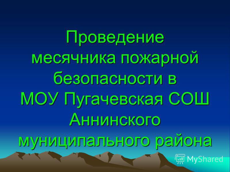 Проведение месячника пожарной безопасности в МОУ Пугачевская СОШ Аннинского муниципального района