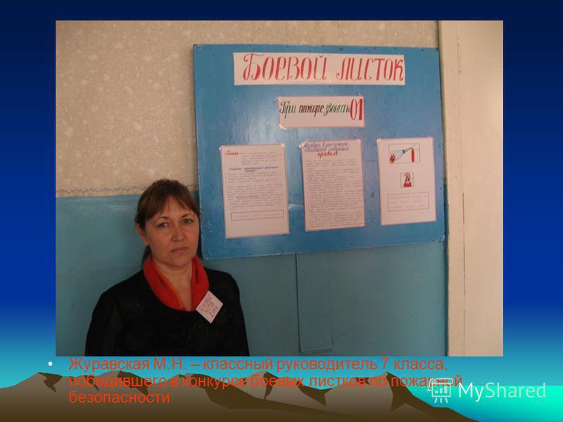 Журавская М.Н. – классный руководитель 7 класса, победившего в конкурсе боевых листков по пожарной безопасности