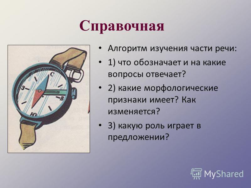 Справочная Алгоритм изучения части речи: 1) что обозначает и на какие вопросы отвечает? 2) какие морфологические признаки имеет? Как изменяется? 3) какую роль играет в предложении?