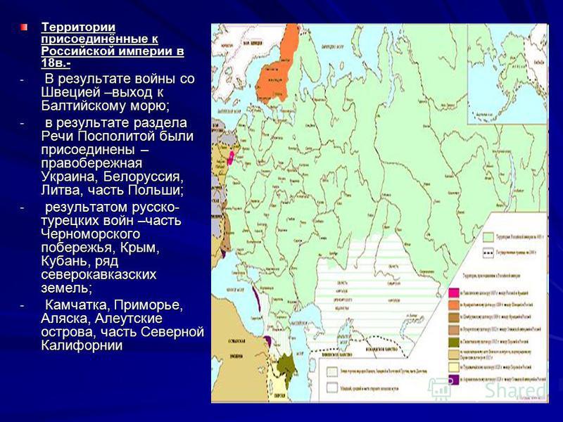 Территории присоединённые к Российской империи в 18 в.- - В результате войны со Швецией –выход к Балтийскому морю; - в результате раздела Речи Посполитой были присоединены – правобережная Украина, Белоруссия, Литва, часть Польши; - результатом русско