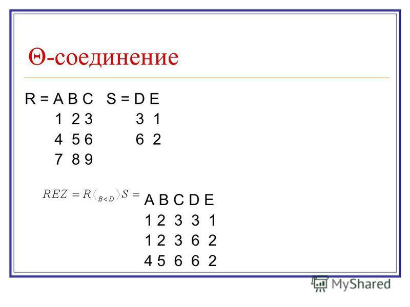 Θ-соединенее R = A B C S = D E 1 2 3 3 1 4 5 6 6 2 7 8 9 A B C D E 1 2 3 3 1 1 2 3 6 2 4 5 6 6 2