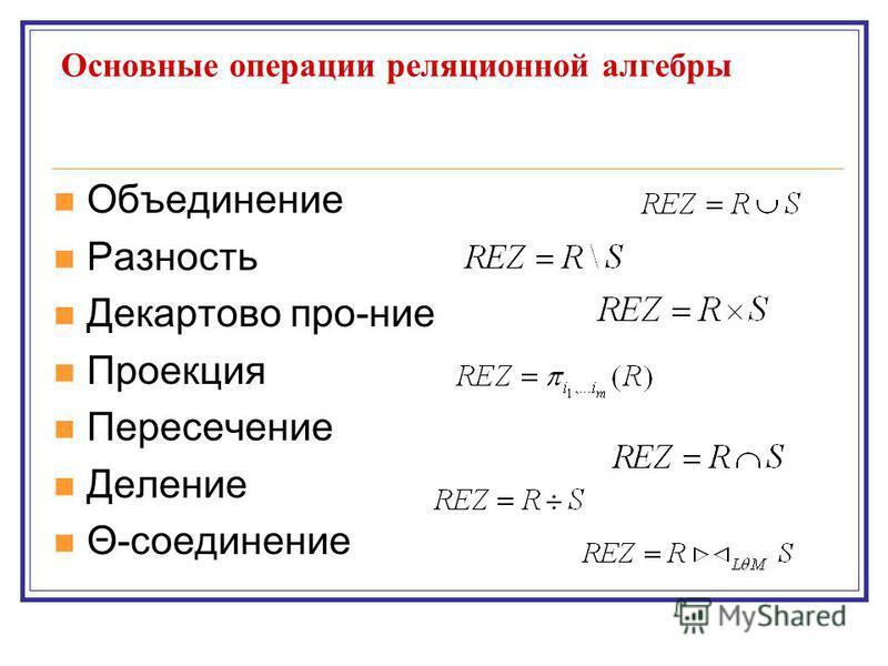 Основные операции реляционной алгебры Объединенее Разность Декартово про-нее Проекция Пересеченее Деленее Θ-соединенее
