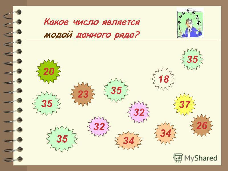 Какое число является модой данного ряда? 26 34 32 35 32 35 18 37 20 23 35