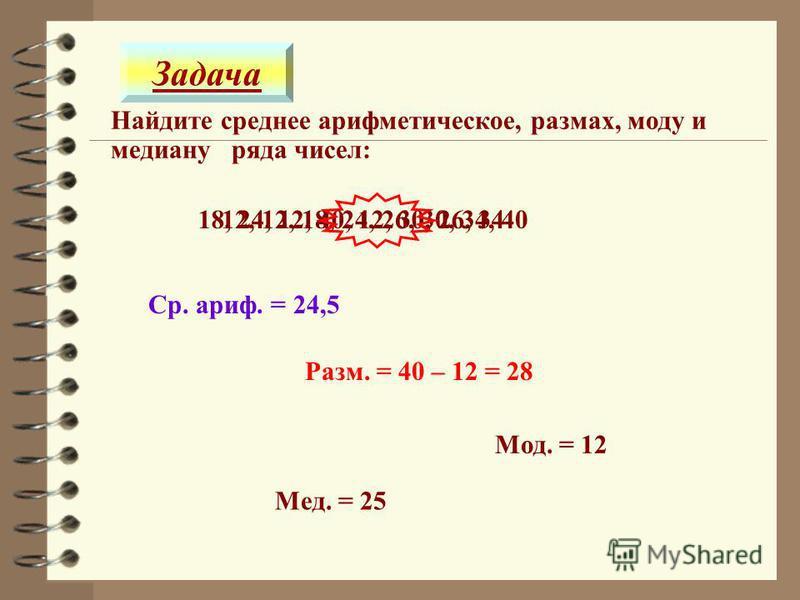 12, 12, 18, 24, 26, 30, 34, 40 Найдите среднее ттттарифметическое, размах, моду и медиану ряда чисел: 18, 24, 12, 40, 12, 30, 26, 34 Ср. ттттариф. = 24,5 Разм. = 40 – 12 = 28 Мод. = 12 Задача Мед. = 25