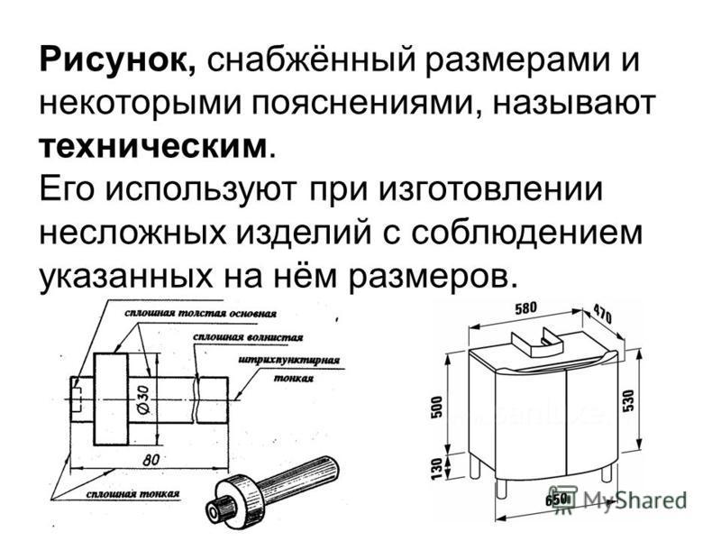 Рисунок, снабжённый размерами и некоторыми пояснениями, называют техническим. Его используют при изготовлении несложных изделий с соблюдением указанных на нём размеров.
