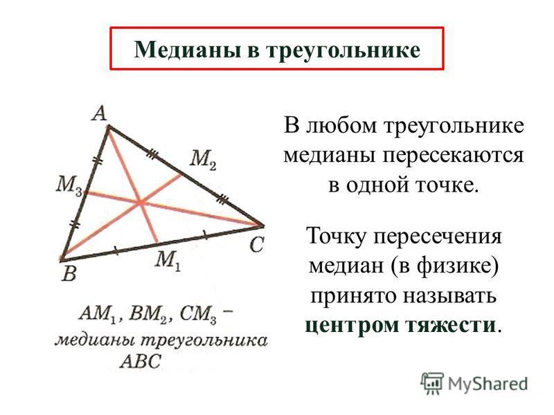 В любом треугольнике медианы пересекаются в одной точке. Медианы в треугольнике Точку пересечения медиан (в физике) принято называть центром тяжести.
