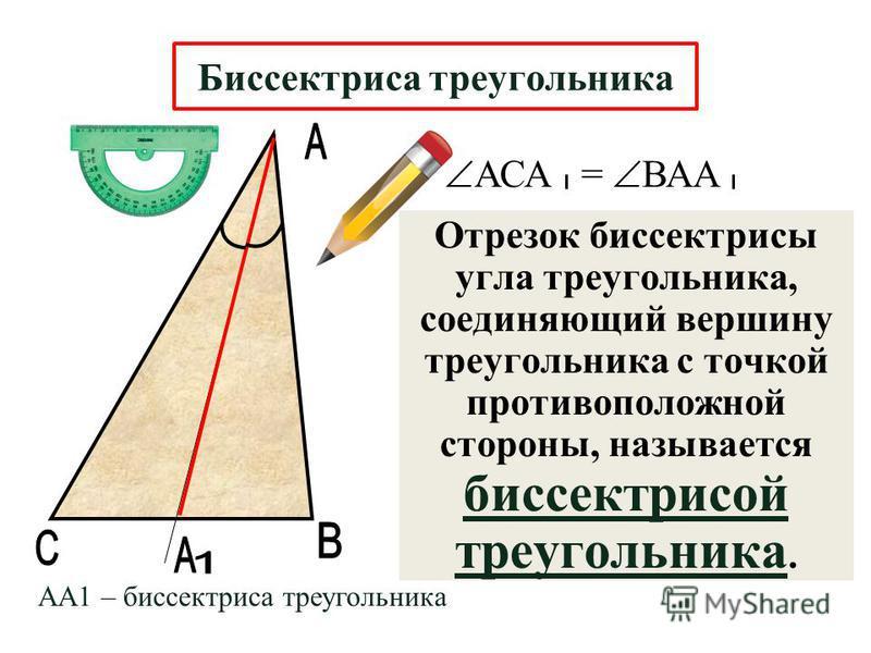 Отрезок биссектрисы угла треугольника, соединяющий вершину треугольника с точкой противоположной стороны, называется биссектрисой треугольника. Биссектриса треугольника АА1 – биссектриса треугольника АСА = ВАА