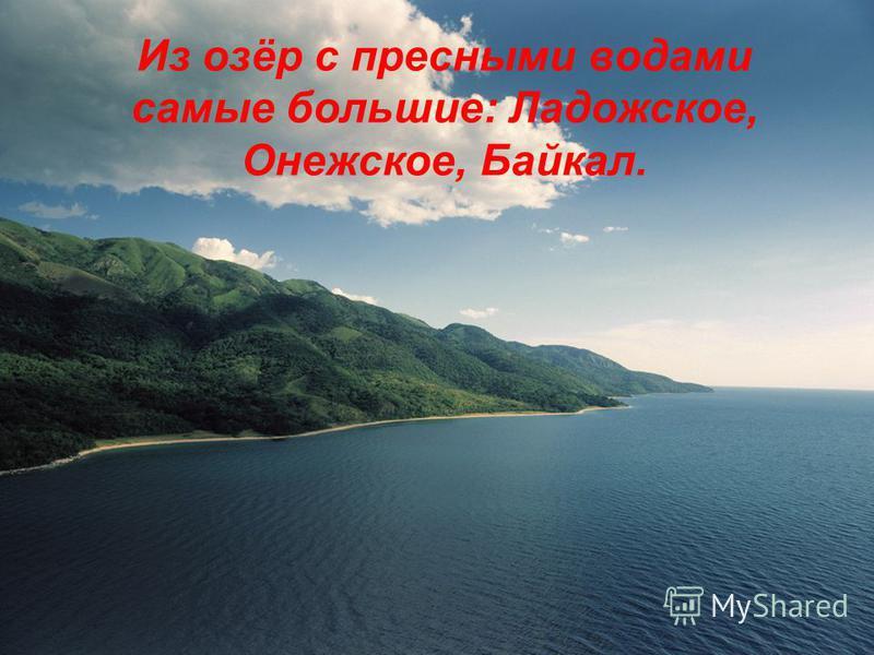 Из озёр с пресными водами самые большие: Ладожское, Онежское, Байкал.
