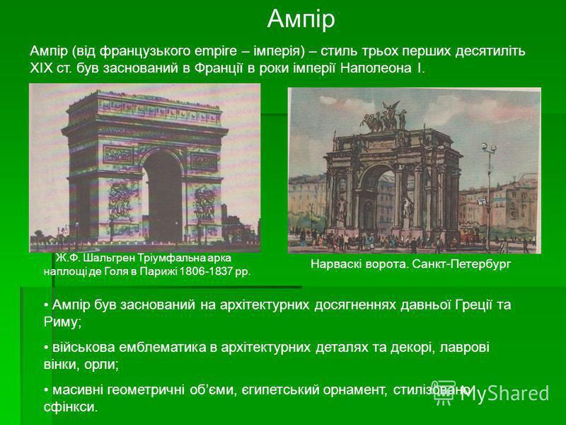 Ампір Ампір (від французького empire – імперія) – стиль трьох перших десятиліть XIX ст. був заснований в Франції в роки імперії Наполеона I. Ампір був заснований на архітектурних досягненнях давньої Греції та Риму; військова емблематика в архітектурн