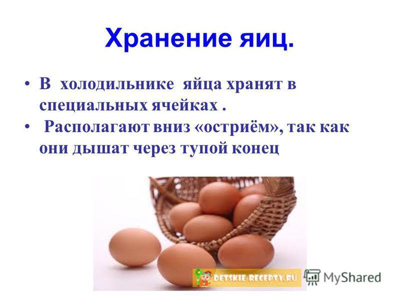 Хранение яиц. В холодильнике яйца хранят в специальных ячейках. Располагают вниз «остриём», так как они дышат через тупой конец