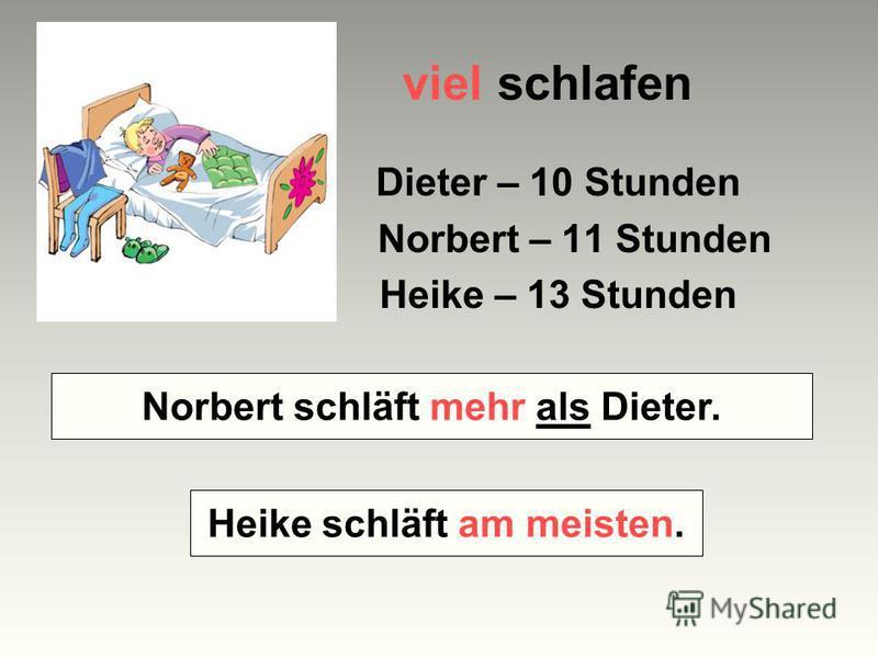 viel schlafen Dieter – 10 Stunden Norbert – 11 Stunden Heike – 13 Stunden Wer schläft mehr – Norbert oder Dieter? Wer schläft am meisten? Norbert schläft mehr als Dieter. Heike schläft am meisten.