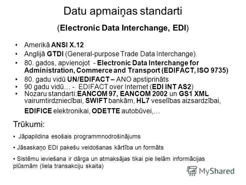 Datu apmaiņas standarti (Electronic Data Interchange, EDI) Amerikā ANSI X.12 Anglijā GTDI (General-purpose Trade Data Interchange). 80. gados, apvienojot - Electronic Data Interchange for Administration, Commerce and Transport (EDIFACT, ISO 9735) 80.