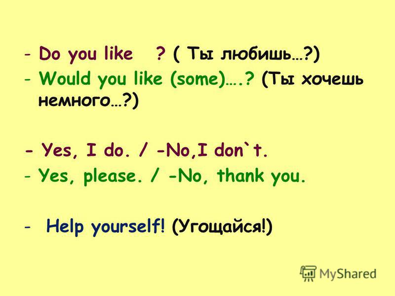 -Do you like ? ( Ты любишь…?) -Would you like (some)….? (Ты хочешь немного…?) - Yes, I do. / -No,I don`t. -Yes, please. / -No, thank you. - Help yourself! (Угощайся!)