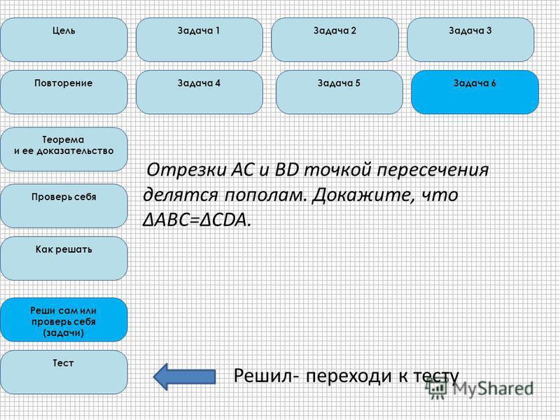 Отрезки АС и BD точкой пересечения делятся пополам. Докажите, что ΔABC=ΔCDA. Цель Повторение Теорема и ее доказательство Проверь себя Как решать Реши сам или проверь себя (задачи) Тест Задача 1Задача 2Задача 3 Задача 4Задача 5Задача 6 Решил- переходи