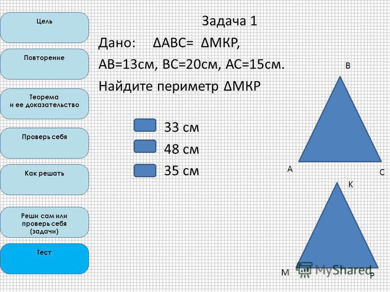 Цель Повторение Теорема и ее доказательство Проверь себя Как решать Реши сам или проверь себя (задачи) Тест А B C M K P Задача 1 Дано: ΔАВС= ΔМКР, АВ=13 см, ВС=20 см, АС=15 см. Найдите периметр ΔМКР 33 см 48 см 35 см
