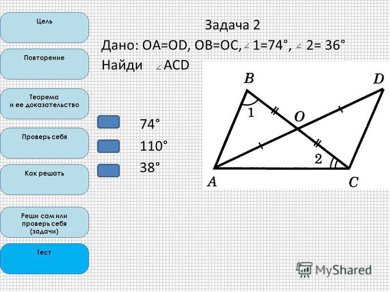 Цель Повторение Теорема и ее доказательство Проверь себя Как решать Реши сам или проверь себя (задачи) Тест 74° 110° 38° Задача 2 Дано: OA=OD, ОВ=ОС, 1=74°, 2= 36° Найди АCD
