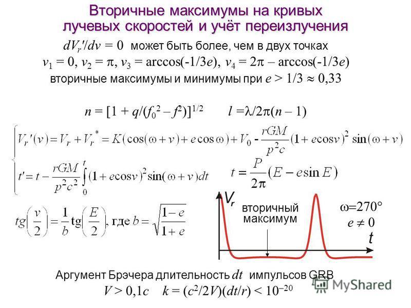 Вторичные максимумы на кривых лучевых скоростей и учёт переизлучения dV r '/dv = 0 может быть более, чем в двух точках v 1 = 0, v 2 = v 3 = arccos(-1/3e), v 4 = 2 – arccos(-1/3e) вторичные максимумы и минимумы при e > 1/3 0,33 n = [1 + q/(f 0 2 – f 2