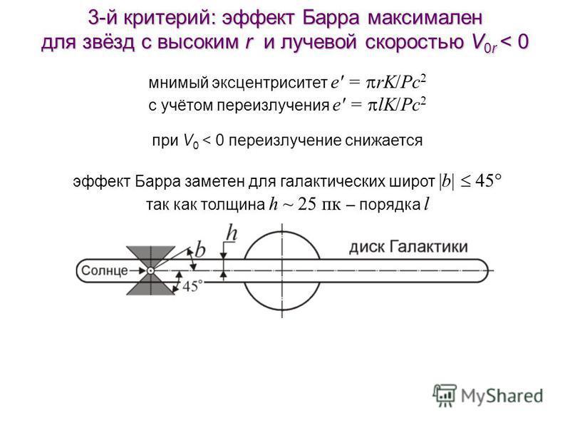 3-й критерий: эффект Барра максимален для звёзд с высоким r и лучевой скоростью V 0r < 0 мнимый эксцентриситет e' = rK/Pc 2 с учётом переизлучения e' = lK/Pc 2 при V 0 < 0 переизлучение снижается эффект Барра заметен для галактических широт |b| 45° т