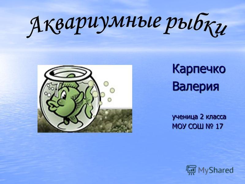 Карпечко Валерия ученица 2 класса МОУ СОШ 17