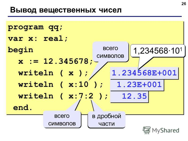 26 Вывод вещественных чисел program qq; var x: real; begin x := 12.345678; writeln ( x ); writeln ( x:10 ); writeln ( x:7:2 ); end. program qq; var x: real; begin x := 12.345678; writeln ( x ); writeln ( x:10 ); writeln ( x:7:2 ); end. 12.35 всего си