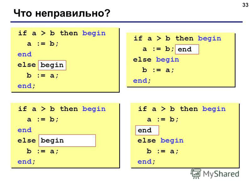 33 Что неправильно? if a > b then begin a := b; end else b := a; end; if a > b then begin a := b; end else b := a; end; if a > b then begin a := b; else begin b := a; end; if a > b then begin a := b; else begin b := a; end; if a > b then begin a := b