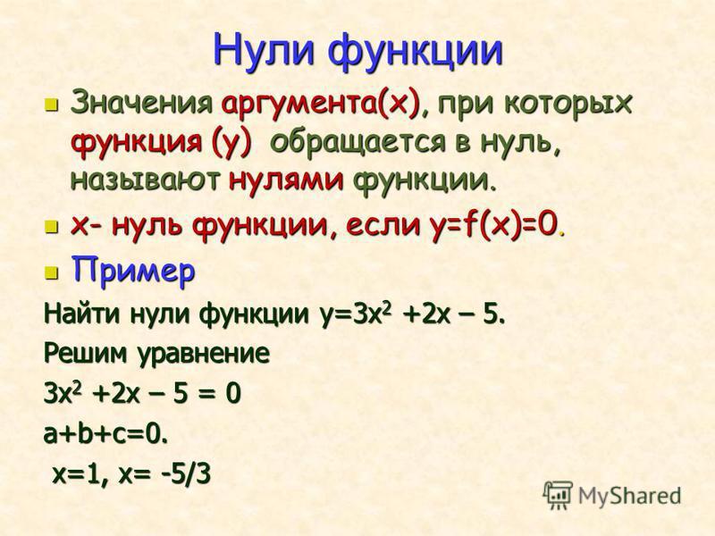 Нули функции Значения аргумента(х), при которых функция (у) обращается в нуль, называют нулями функции. Значения аргумента(х), при которых функция (у) обращается в нуль, называют нулями функции. х- нуль функции, если у=f(x)=0. х- нуль функции, если у