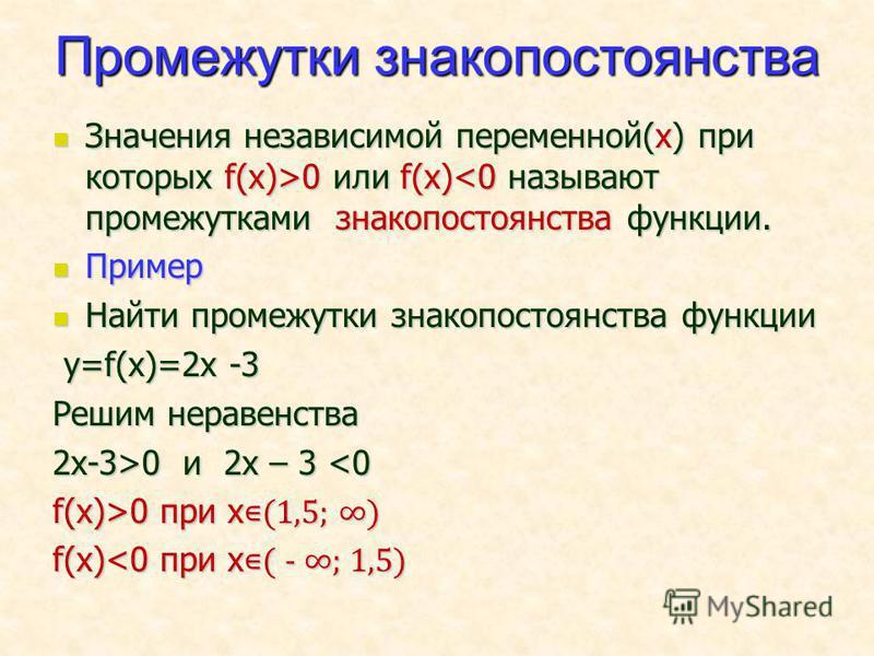 Промежутки знакопостоянства Значения независимой переменной(х) при которых f(x)>0 или f(x) 0 или f(x)<0 называют промежутками знакопостоянства функции. Пример Пример Найти промежутки знакопостоянства функции Найти промежутки знакопостоянства функции