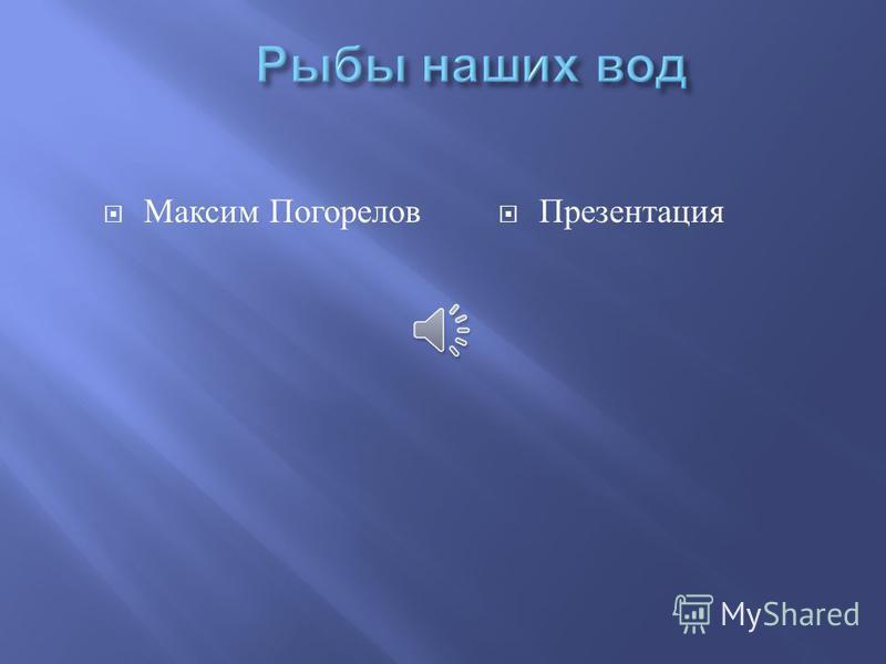 Максим Погорелов Презентация