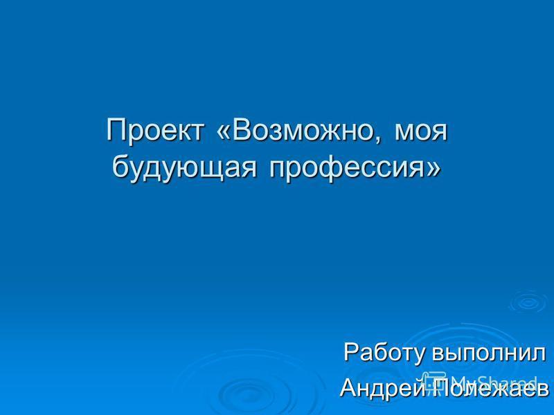 Проект «Возможно, моя будующая профессия» Работу выполнил Андрей Полежаев