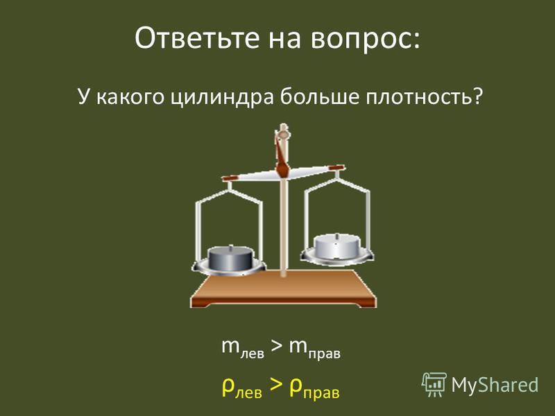 Ответьте на вопрос: У какого цилиндра больше плотность? m лев > m прав ρ лев > ρ прав