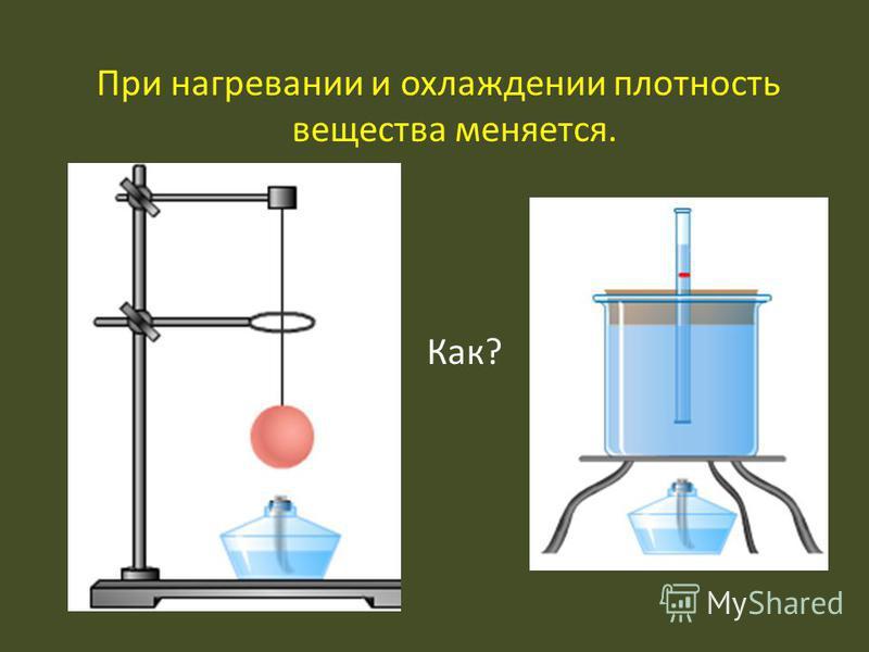 При нагревании и охлаждении плотность вещества меняется. Как?
