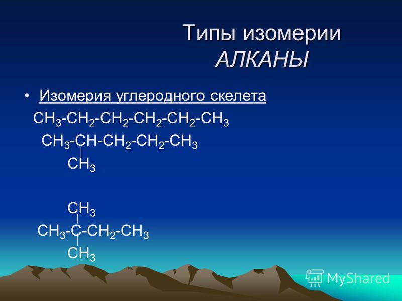 Типы изомерии АЛКАНЫ Изомерия углеродного скелета СН 3 -СН 2 -СН 2 -СН 2 -СН 2 -СН 3 СН 3 -СН-СН 2 -СН 2 -СН 3 СН 3 СН 3 -С-СН 2 -СН 3 СН 3