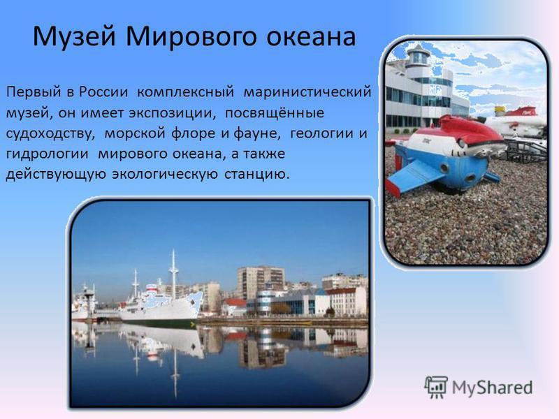 Музей Мирового океана Первый в России комплексный маринистический музей, он имеет экспозиции, посвящённые судоходству, морской флоре и фауне, геологии и гидрологии мирового океана, а также действующую экологическую станцию.