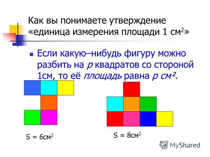 Как вы понимаете утверждение «единица измерения площади 1 см 2 » Если какую–нибудь фигуру можно разбить на р квадратов со стороной 1 см, то её площадь равна р см². S = 6 см 2 S = 8 см 2