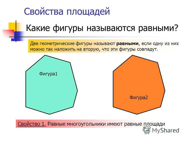 Свойства площадей Две геометрические фигуры называют равными, если одну из них можно так наложить на вторую, что эти фигуры совпадут. Фигура 2 Фигура 1 Какие фигуры называются равными? Свойство 1. Равные многоугольники имеют равные площади