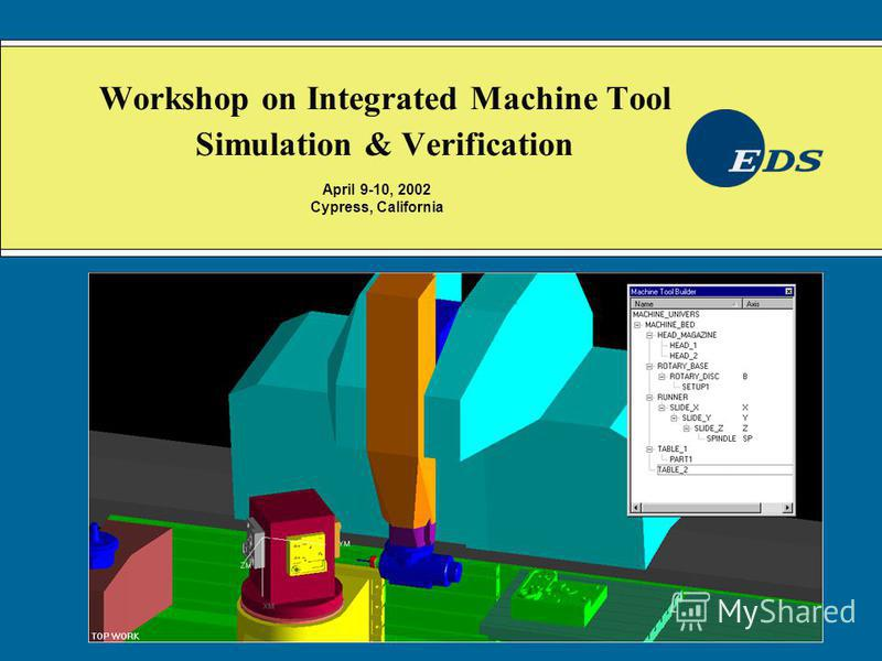 Workshop on Integrated Machine Tool Simulation & Verification April 9-10, 2002 Cypress, California