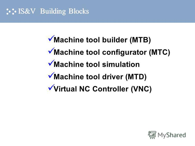 IS&V Building Blocks Machine tool builder (MTB) Machine tool configurator (MTC) Machine tool simulation Machine tool driver (MTD) Virtual NC Controller (VNC)