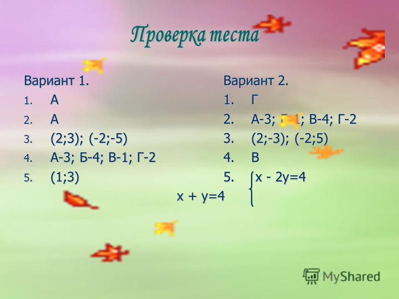 Вариант 1. Вариант 2. 1. А1. Г 2. А2. А-3; Б-1; В-4; Г-2 3. (2;3); (-2;-5)3. (2;-3); (-2;5) 4. А-3; Б-4; В-1; Г-24. В 5. (1;3)5. x - 2y=4 x + y=4 x + y=4