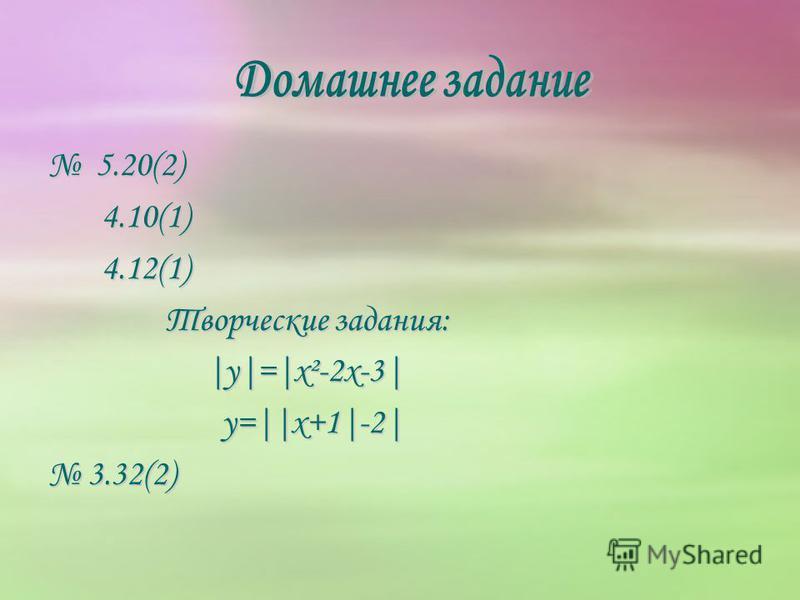 5.20(2) 5.20(2) 4.10(1) 4.10(1) 4.12(1) 4.12(1) Творческие задания: |y|=|x²-2x-3| y=||x+1|-2| y=||x+1|-2| 3.32(2)3.32(2)