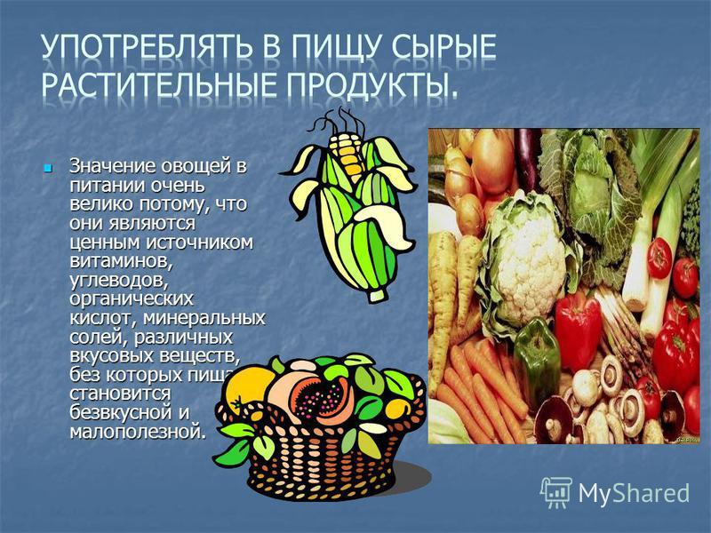 Значение овощей в питании очень велико потому, что они являются ценным источником витаминов, углеводов, органических кислот, минеральных солей, различных вкусовых веществ, без которых пища становится безвкусной и малополезной. Значение овощей в питан