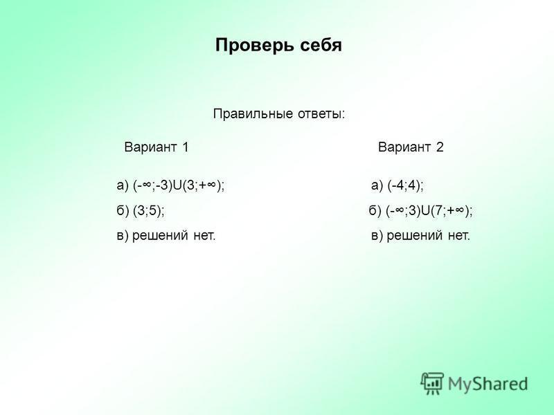 Проверь себя Правильные ответы: Вариант 1 Вариант 2 а) (-;-3)U(3;+); а) (-4;4); б) (3;5); б) (-;3)U(7;+); в) решений нет. в) решений нет.